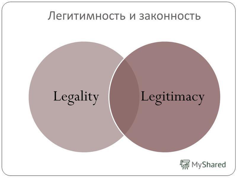 Легитимность и законность LegalityLegitimacy