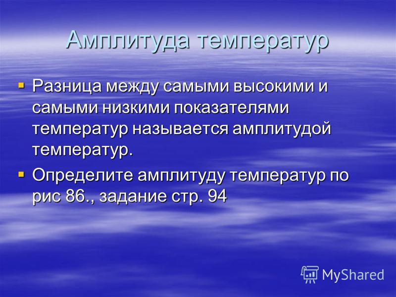 Амплитуда температур Разница между самыми высокими и самыми низкими показателями температур называется амплитудой температур. Разница между самыми высокими и самыми низкими показателями температур называется амплитудой температур. Определите амплитуд