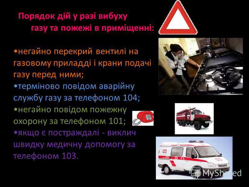 Порядок дій у разі вибуху газу та пожежі в приміщенні: негайно перекрий вентилі на газовому приладді і крани подачі газу перед ними; терміново повідом аварійну службу газу за телефоном 104; негайно повідом пожежну охорону за телефоном 101; якщо є пос