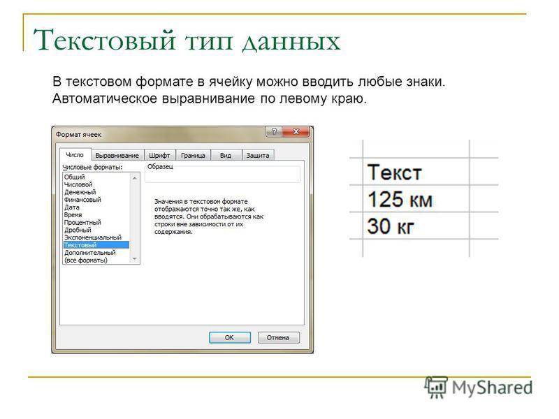 Текстовый тип данных В текстовом формате в ячейку можно вводить любые знаки. Автоматическое выравнивание по левому краю.
