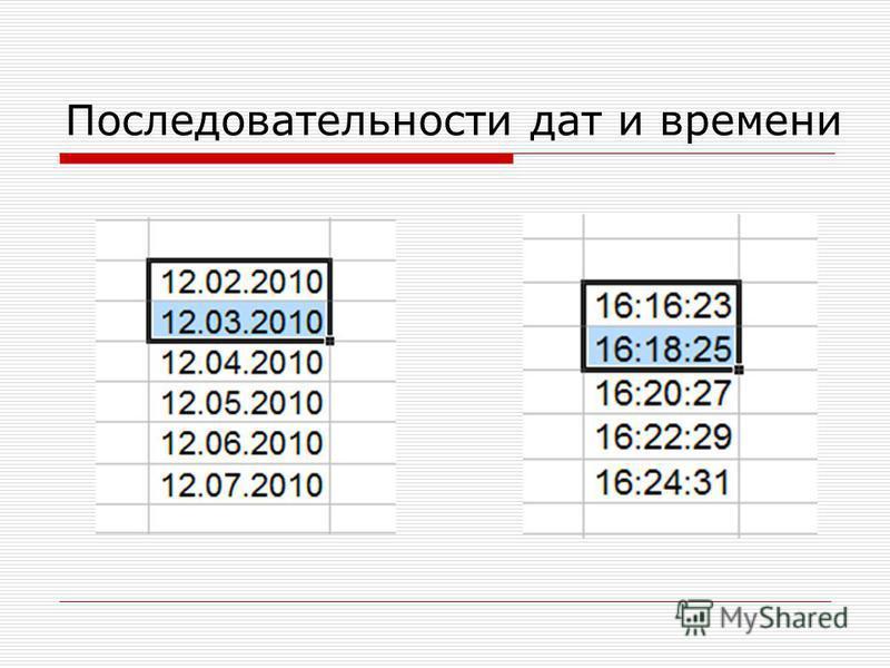 Последовательности дат и времени