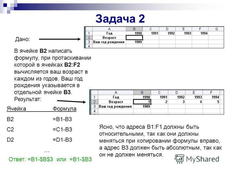 Задача 2 Дано: В ячейке В2 написать формулу, при протаскивании которой в ячейках В2:F2 вычисляется ваш возраст в каждом из годов. Ваш год рождения указывается в отдельной ячейке В3. Результат: Ячейка Формула B2=B1-В3 C2=C1-B3 D2=D1-B3 … Ясно, что адр