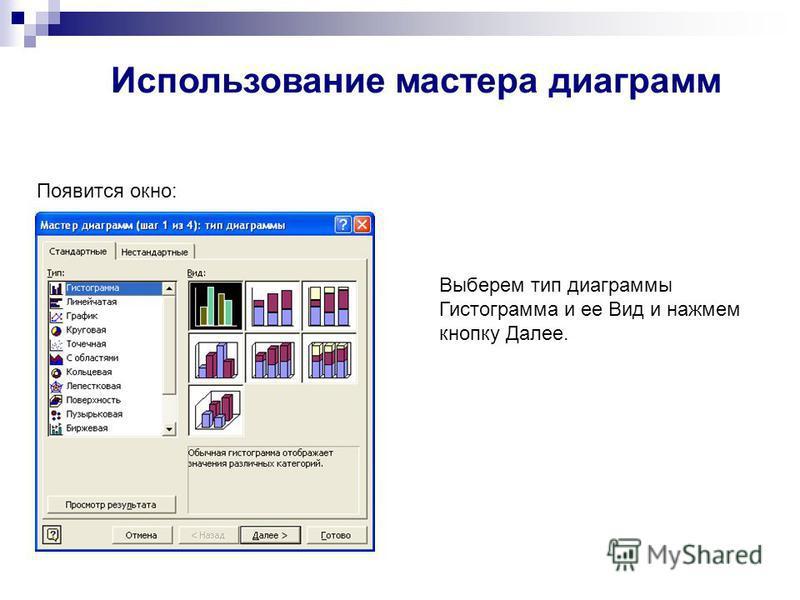 Появится окно: Выберем тип диаграммы Гистограмма и ее Вид и нажмем кнопку Далее. Использование мастера диаграмм