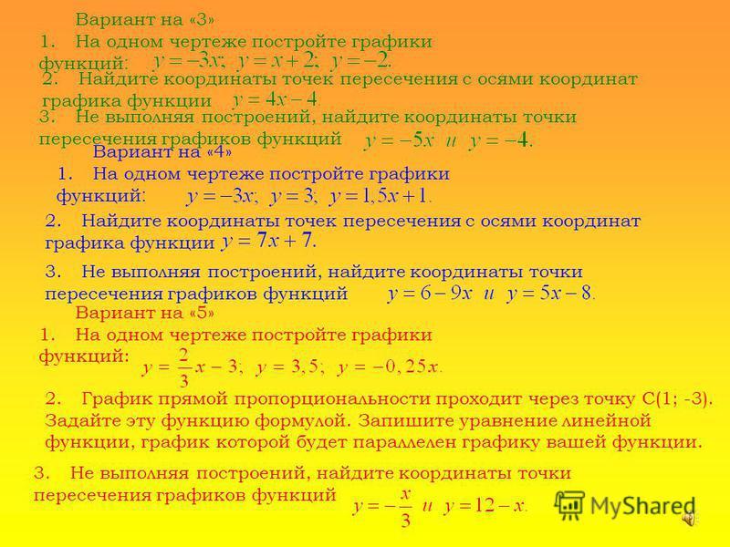 Вариант на «3» 1. На одном чертеже постройте графики функций : 2. Найдите координаты точек пересечения с осями координат графика функции 3. Не выполняя построений, найдите координаты точки пересечения графиков функций Вариант на «4» 1. На одном черте