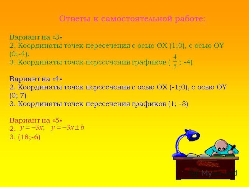 Ответы к самостоятельной работе: Вариант на «3» 2. Координаты точек пересечения с осью ОХ (1;0), с осью OY (0;-4). 3. Координаты точек пересечения графиков ( ; -4) Вариант на «4» 2. Координаты точек пересечения с осью ОХ (-1;0), с осью OY (0; 7) 3. К