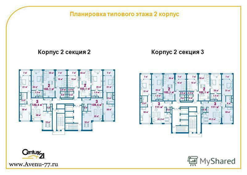 Планировка типового этажа 2 корпус Корпус 2 секция 2Корпус 2 секция 3