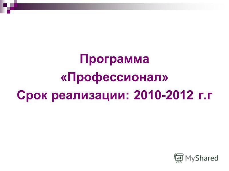 Программа «Профессионал» Срок реализации: 2010-2012 г.г