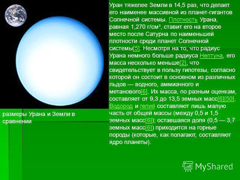размеры Урана и Земли в сравнении Уран тяжелее Земли в 14,5 раз, что делает его наименее массивной из планет-гигантов Солнечной системы. Плотность Урана, равная 1,270 г/см³, ставит его на второе место после Сатурна по наименьшей плотности среди плане