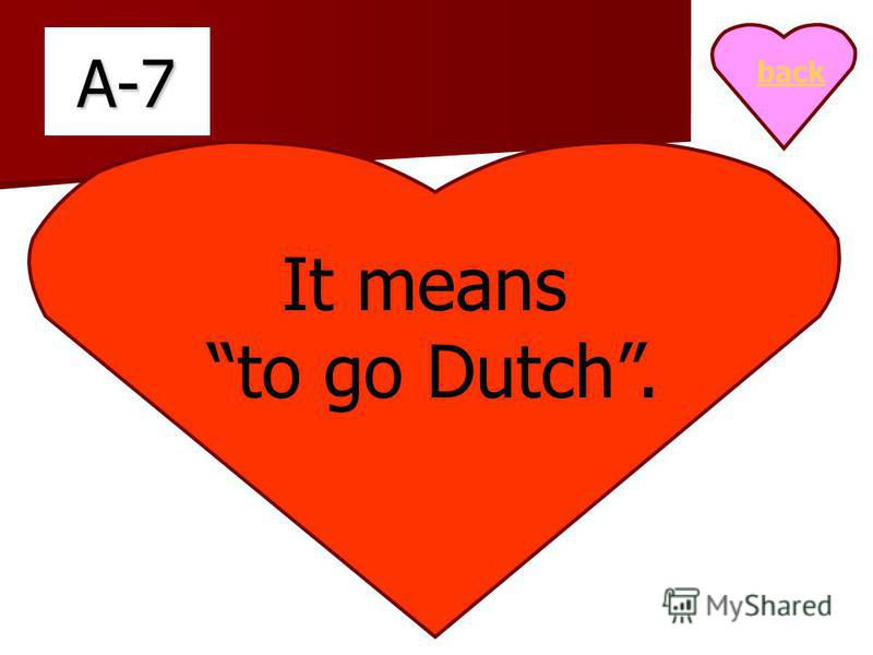A-7 It means to go Dutch. back