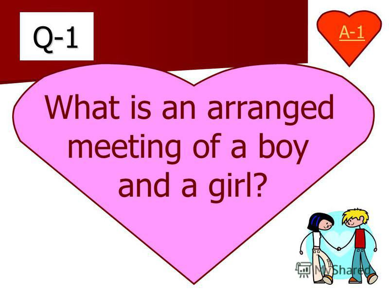 Q-1 What is an arranged meeting of a boy and a girl? A-1