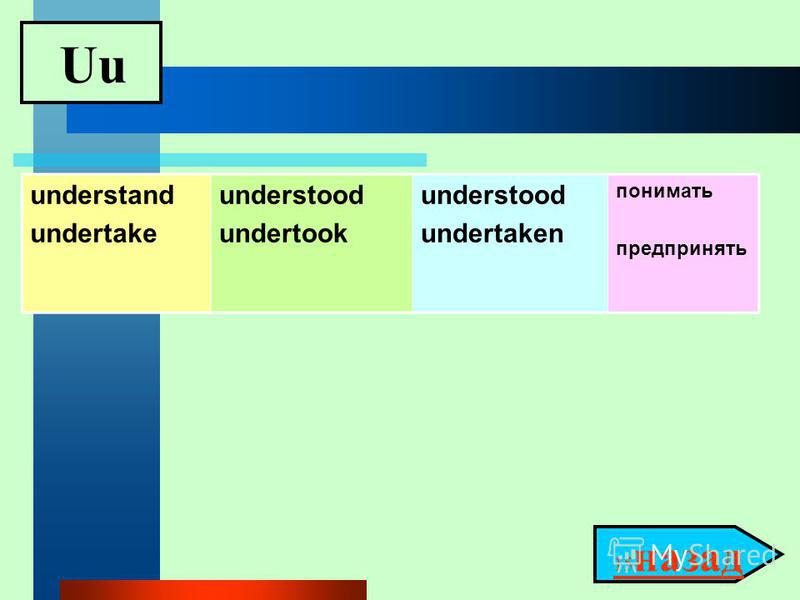 Uu 15 назад 15 назад understand undertake understood undertook understood undertaken понимать предпринять
