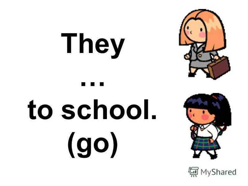 They … to school. (go)