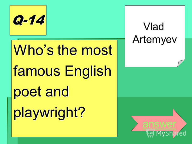 Q-14 Whos the most famous English poet and playwright? answer Vlad Artemyev