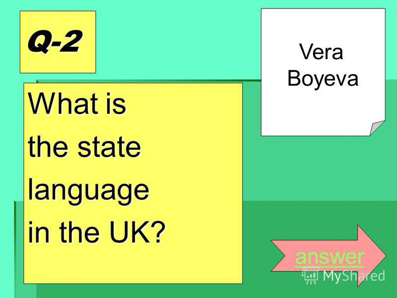 Q-2 What is the state language in the UK? answer Vera Boyeva