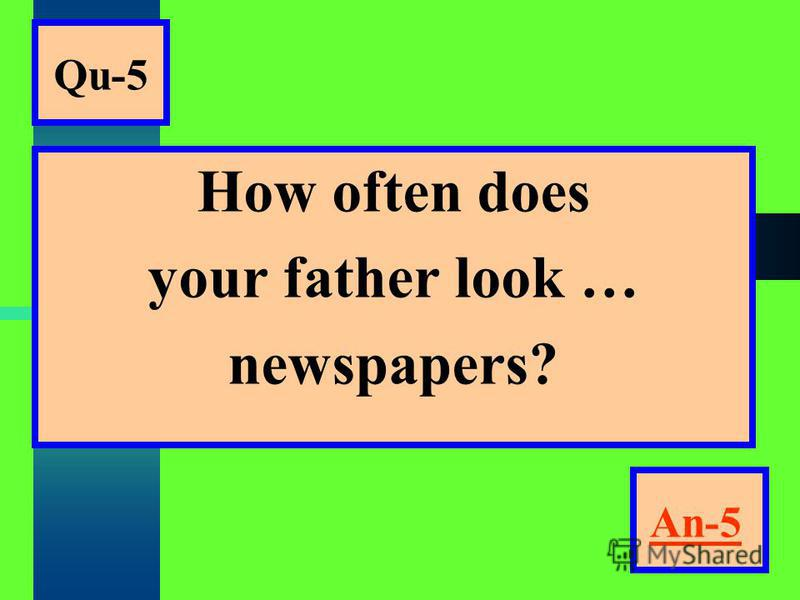 Qu-5 How often does your father look … newspapers? An-5