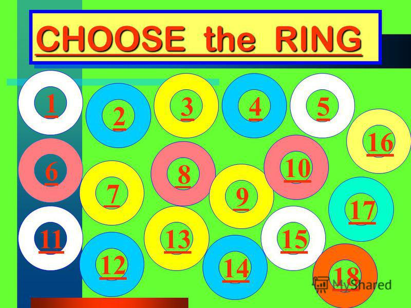CHOOSE the RING CHOOSE the RING 1 2 3 4 5 6 7 8 9 10 11 12 13 14 15 16 16 17 17 18 18