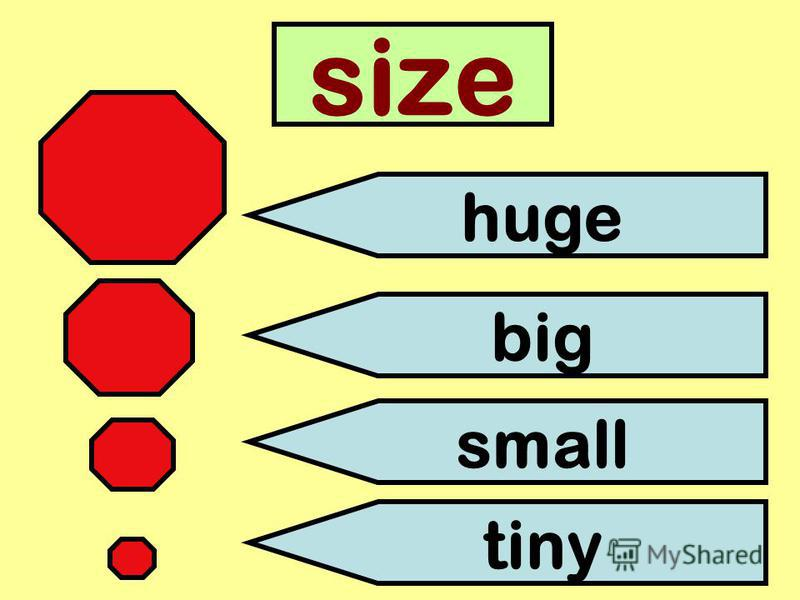 size huge big small tiny