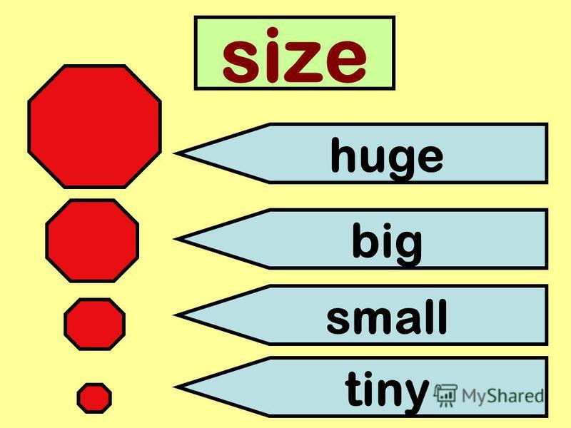 size huge big small tiny