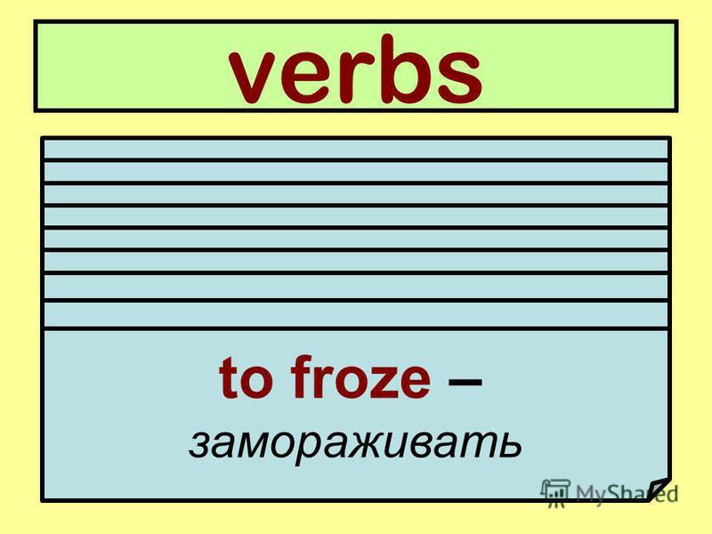 verbs to use – использовать to boil – кипятить to cut – резать, постригать to entertain – развлекать to wash – мыть, стирать to shave – брить to mix – смешивать to heat – подогревать to froze – замораживать