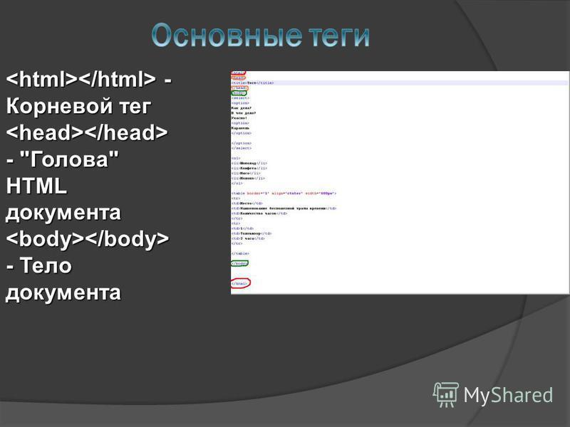 - Корневой тег - Корневой тег - Голова HTML документа - Голова HTML документа - Тело документа - Тело документа