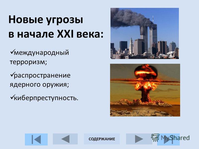Новые угрозы в начале XXI века: международный терроризм; распространение ядерного оружия; киберпреступность. СОДЕРЖАНИЕ