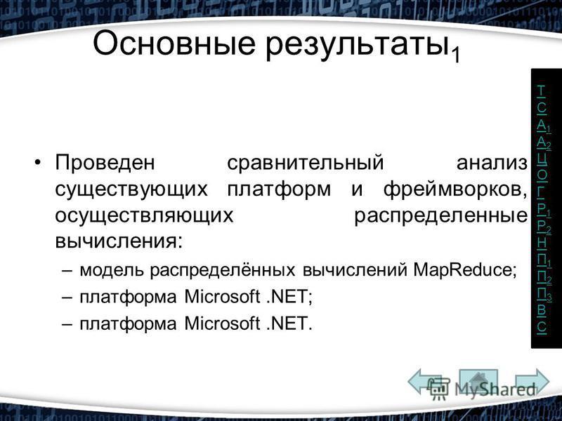Основные результаты 1 Проведен сравнительный анализ существующих платформ и фреймворков, осуществляющих распределенные вычисления: –модель распределённых вычислений MapReduce; –платформа Microsoft.NET; –платформа Microsoft.NET. ТCА1А2ЦОГР1Р2НП1П2П3ВС