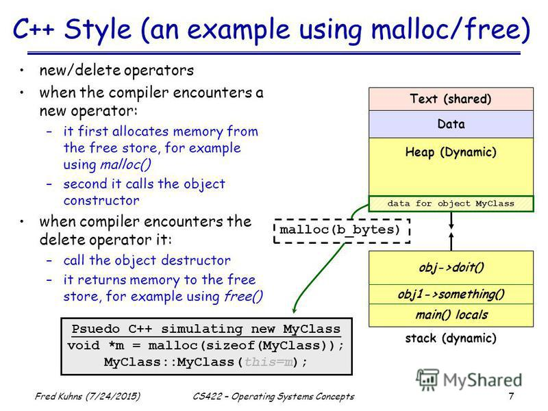7 Fred Kuhns (7/24/2015)CS422 – Operating Systems Concepts C++ Style (an example using malloc/free) new/delete operators when the compiler encounters a new operator: –it first allocates memory from the free store, for example using malloc() –second i