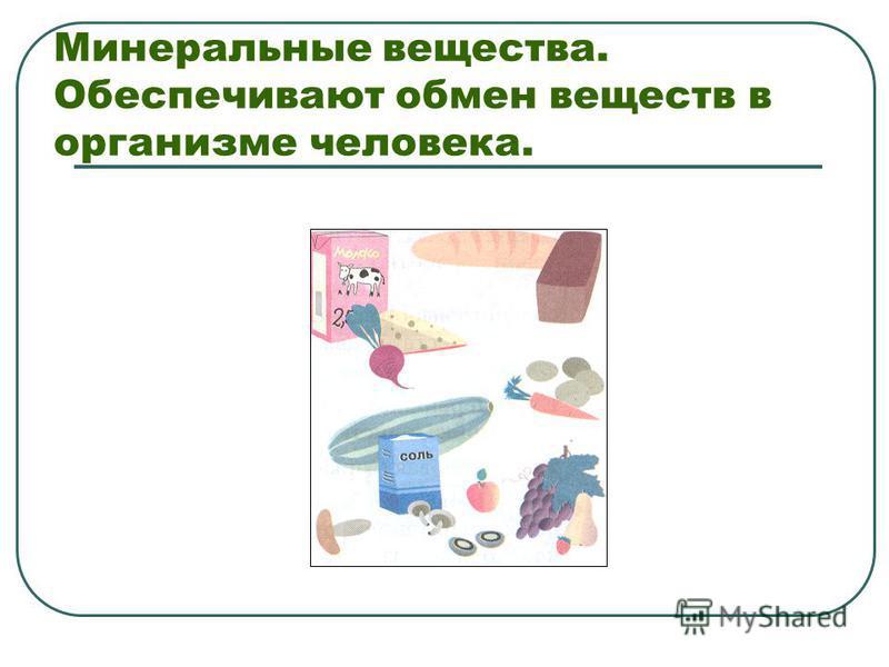 Минеральные вещества. Обеспечивают обмен веществ в организме человека.