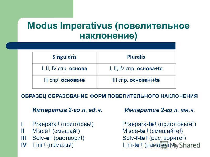 Modus Imperativus (повелительное наклонение) SingularisPluralis I, II, IV спр. основаI, II, IV спр. основа+te III спр. основа+еIII спр. основа+i+te ОБРАЗЕЦ ОБРАЗОВАНИЕ ФОРМ ПОВЕЛИТЕЛЬНОГО НАКЛОНЕНИ я Императив 2-го л. ед.ч. Императив 2-го л. мн.ч. I