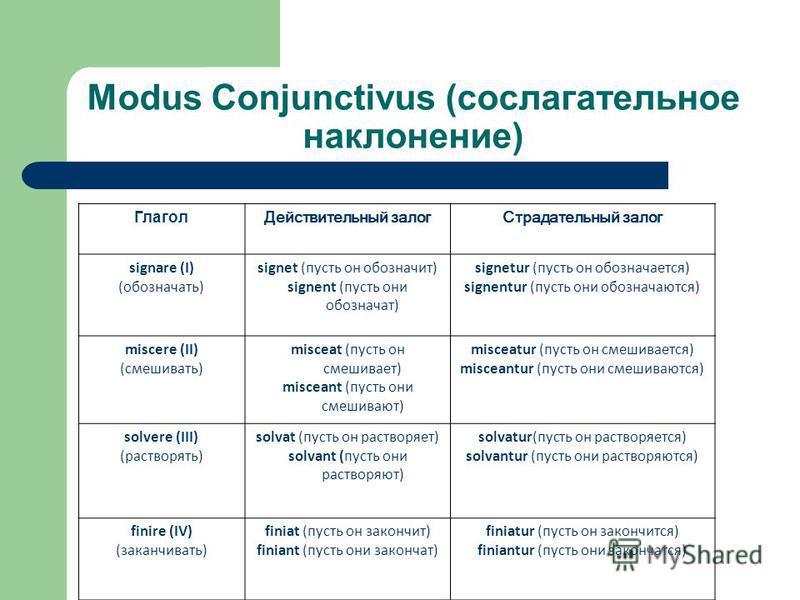 Modus Conjunctivus (сослагательное наклонение) Глагол Действительный залог Страдательный залог signare (I) (обозначать) signet (пусть он обозначит) signent (пусть они обозначат) signetur (пусть он обозначается) signentur (пусть они обозначаются) misc