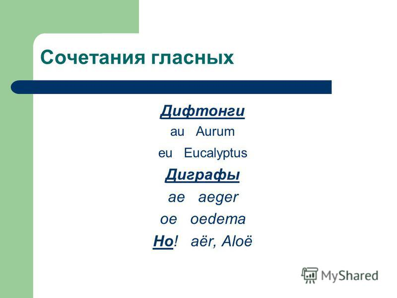 Сочетания гласных Дифтонги au Aurum eu Eucalyptus Диграфы ae aeger oe oedema Но! аёr, Aloё