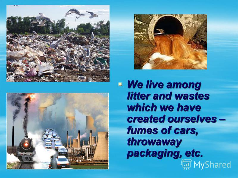 We live among litter and wastes which we have created ourselves – fumes of cars, throwaway packaging, etc. We live among litter and wastes which we have created ourselves – fumes of cars, throwaway packaging, etc.