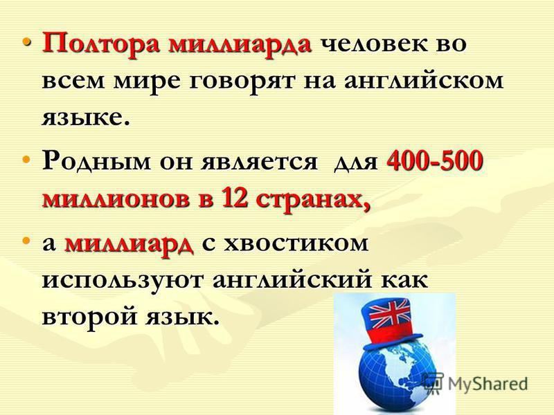 Полтора миллиарда человек во всем мире говорят на английском языке.Полтора миллиарда человек во всем мире говорят на английском языке. Родным он является для 400-500 миллионов в 12 странах,Родным он является для 400-500 миллионов в 12 странах, а милл