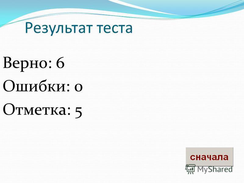 Результат теста Верно: 6 Ошибки: 0 Отметка: 5