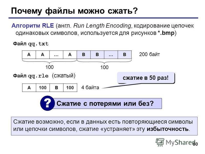 50 Почему файлы можно сжать? Алгоритм RLE (англ. Run Length Encoding, кодирование цепочек одинаковых символов, используется для рисунков *.bmp) AA…ABB…B 100 200 байт Файл qq.txt Файл qq.rle (сжатый) A100B 4 байта Сжатие с потерями или без? ? сжатие в