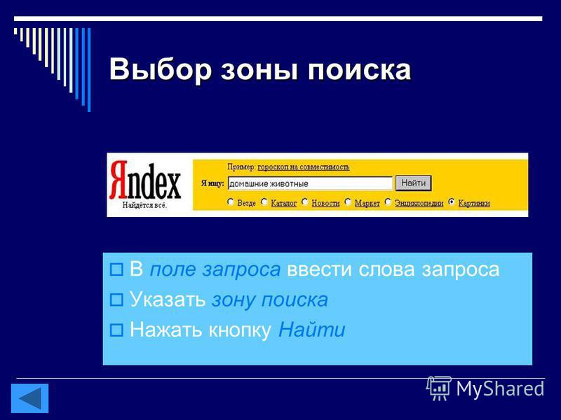 Выбор зоны поиска В поле запроса ввести слова запроса Указать зону поиска Нажать кнопку Найти