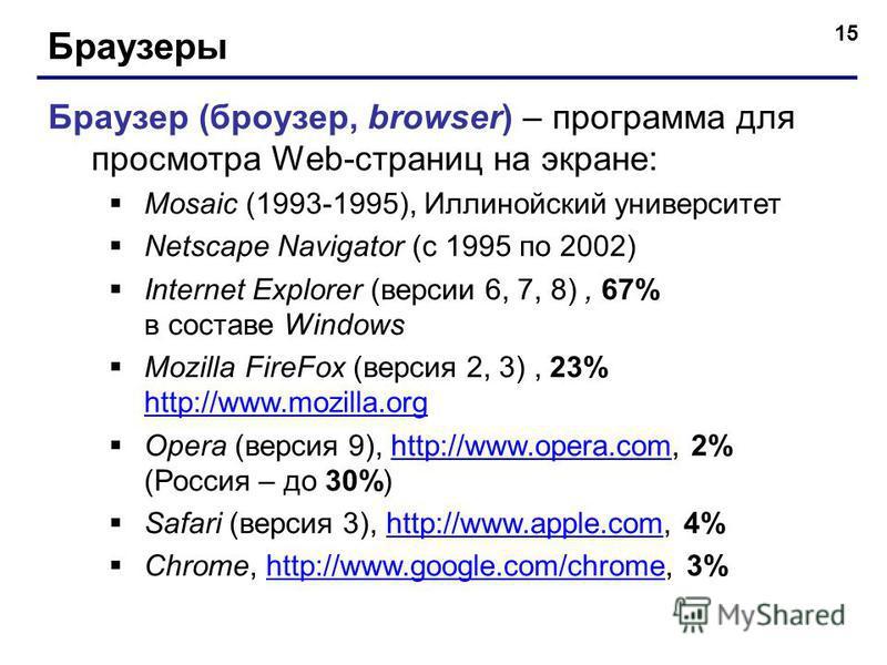 15 Браузеры Браузер (броузер, browser) – программа для просмотра Web-страниц на экране: Mosaic (1993-1995), Иллинойский университет Netscape Navigator (с 1995 по 2002) Internet Explorer (версии 6, 7, 8), 67% в составе Windows Mozilla FireFox (версия