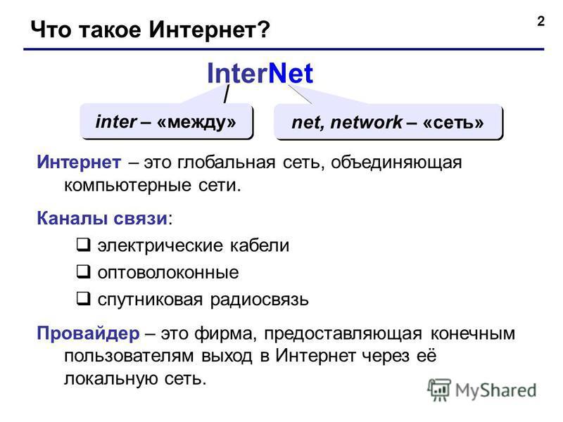 2 Что такое Интернет? InterNet inter – «между» net, network – «сеть» Интернет – это глобальная сеть, объединяющая компьютерные сети. Каналы связи: электрические кабели оптоволоконные спутниковая радиосвязь Провайдер – это фирма, предоставляющая конеч