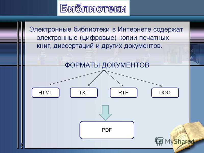 Электронные библиотеки в Интернете содержат электронные (цифровые) копии печатных книг, диссертаций и других документов. ФОРМАТЫ ДОКУМЕНТОВ HTMLTXTRTFDOC PDF