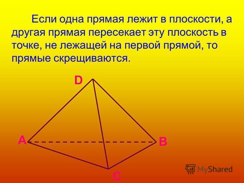 Если одна прямая лежит в плоскости, а другая прямая пересекает эту плоскость в точке, не лежащей на первой прямой, то прямые скрещиваются. C A B D