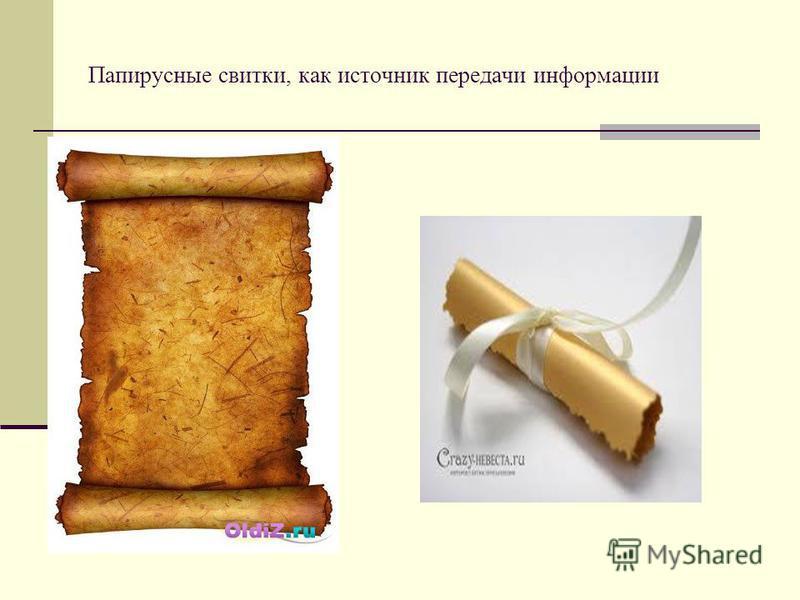 Папирусные свитки, как источник передачи информации