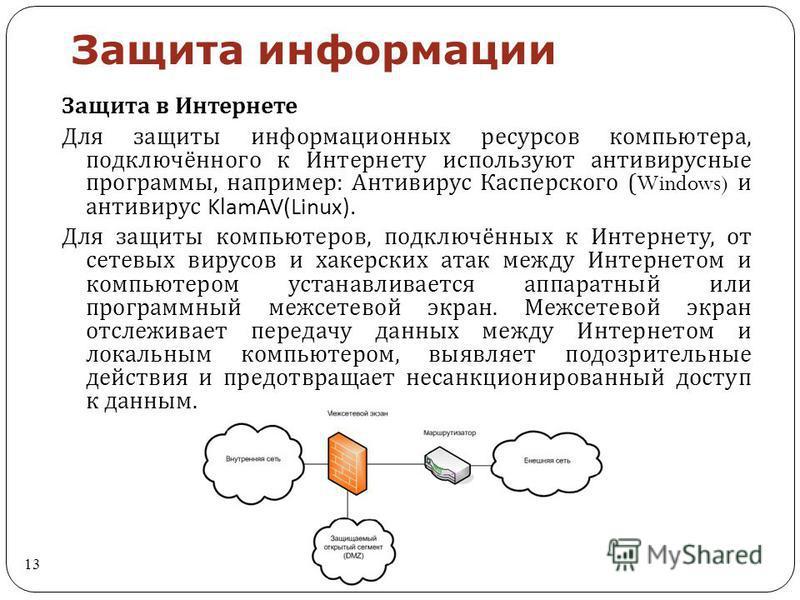 Защита информации 13 Защита в Интернете Для защиты информационных ресурсов компьютера, подключённого к Интернету используют антивирусные программы, например : Антивирус Касперского (Windows) и антивирус KlamAV(Linux). Для защиты компьютеров, подключё