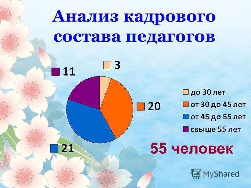 Анализ кадрового состава педагогов 55 человек