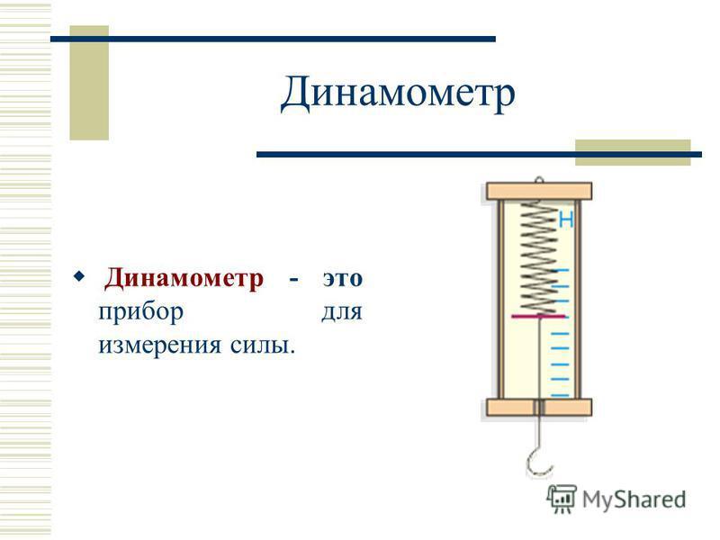 Динамометр Динамометр - это прибор для измерения силы.