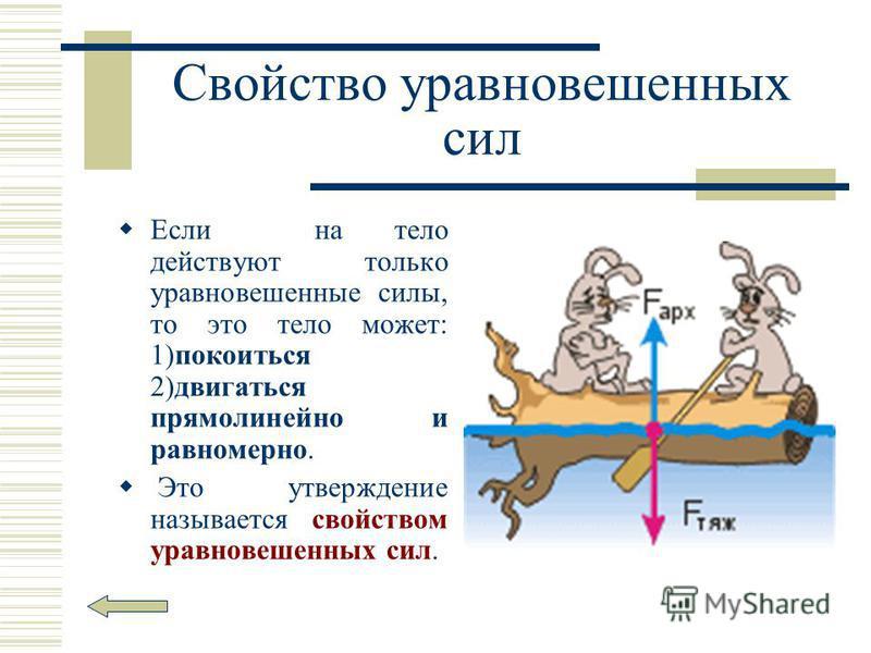 Свойство уравновешенных сил Если на тело действуют только уравновешенные силы, то это тело может: 1)покоиться 2)двигаться прямолинейно и равномерно. Это утверждение называется свойством уравновешенных сил.