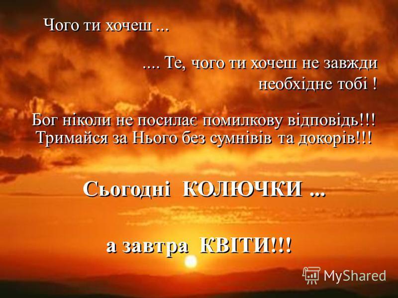 Чого ти хочеш....... Те, чого ти хочеш не завжди необхідне тобі ! Бог ніколи не посилає помилкову відповідь!!! Тримайся за Нього без сумнівів та докорів!!! Сьогодні КОЛЮЧКИ... а завтра КВІТИ!!!