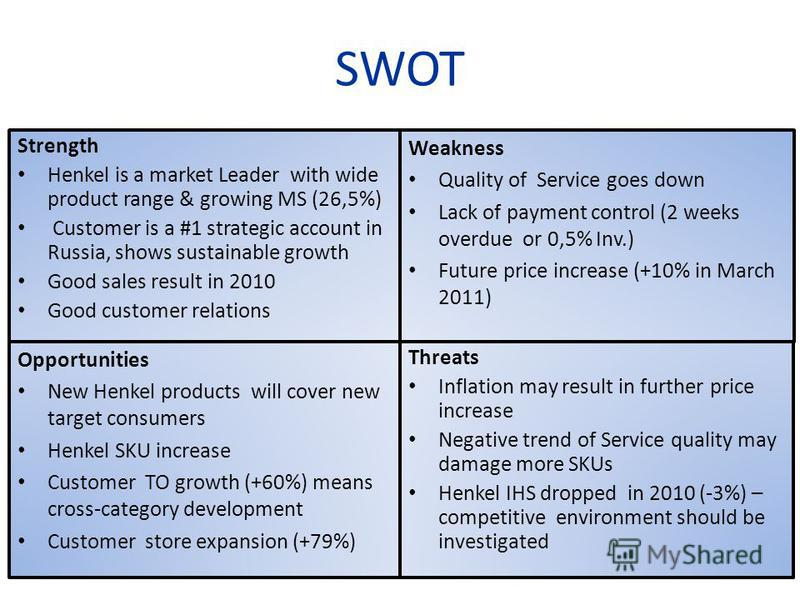 SWOT Strength Henkel is a market Leader with wide product range & growing MS (26,5%) Customer is a #1 strategic account in Russia, shows sustainable growth Good sales result in 2010 Good customer relations 8 Threats Inflation may result in further pr