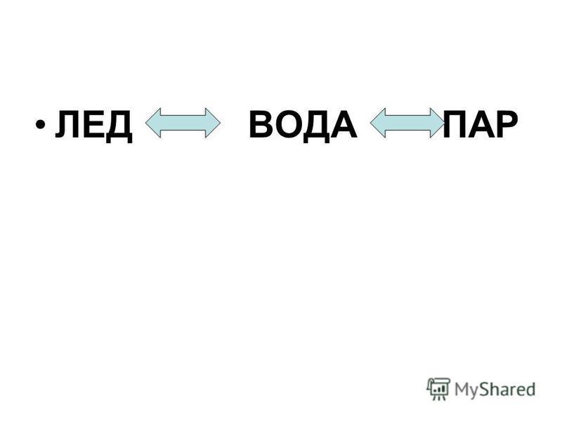 ЛЕД ВОДА ПАР