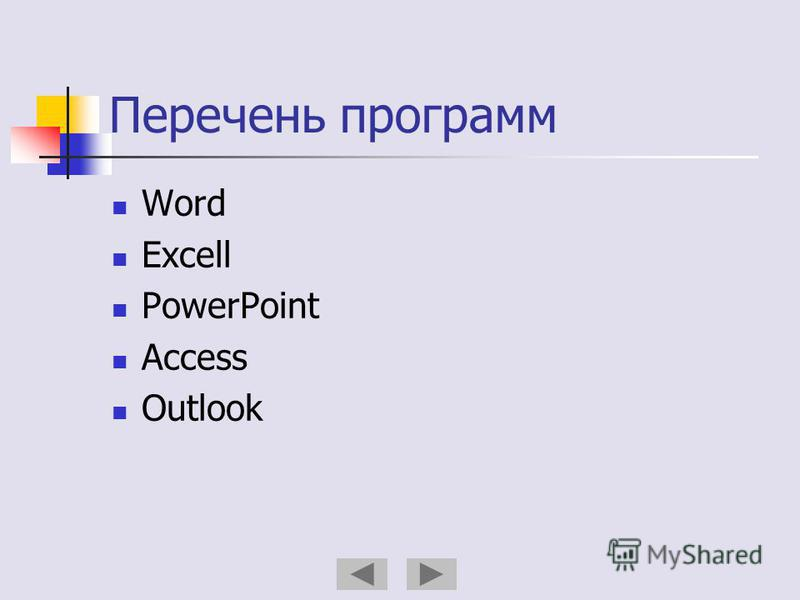 Перечень программ Word Excell PowerPoint Access Outlook