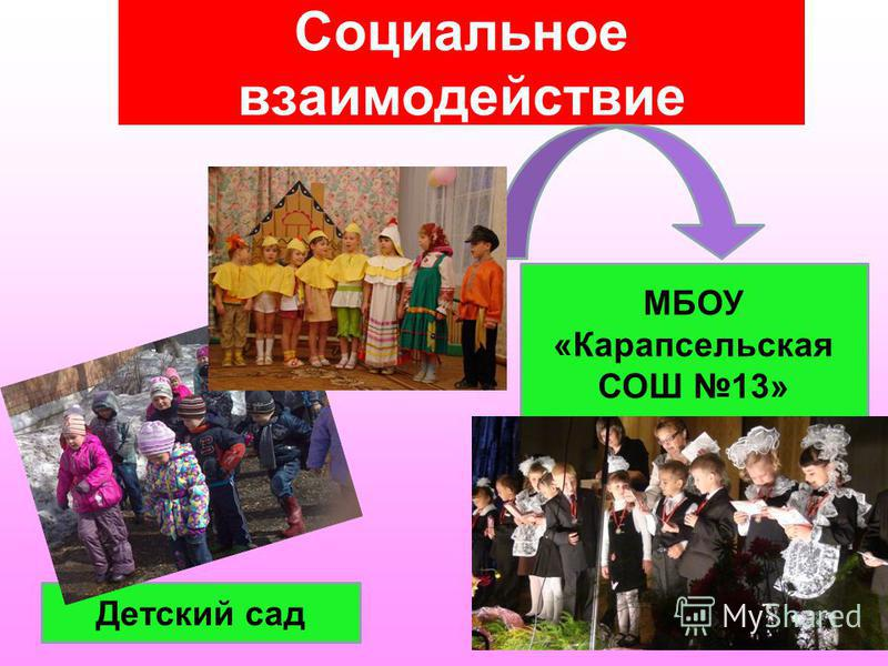 Социальное взаимодействие МБОУ «Карапсельская СОШ 13» Детский сад